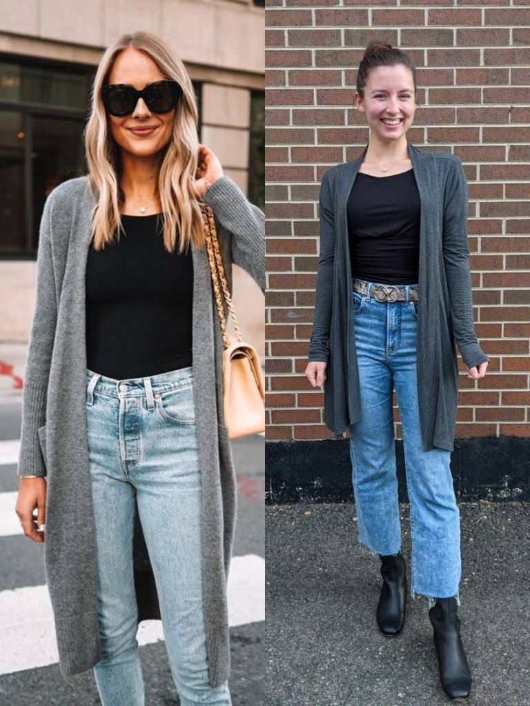 black-blouse-grey-cardigan-cropped-flared-jeans-express
